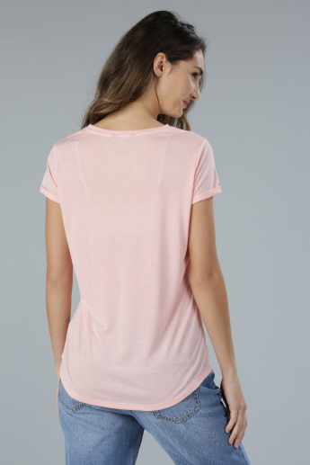 Pearl Embellished Short Sleeves T-Shirt