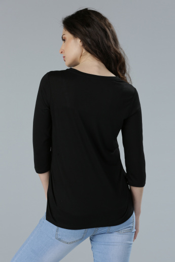 Round Neck Embellished T-Shirt with 3/4 Sleeves