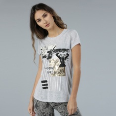 Printed Short Sleeves T-Shirt with Round Neck