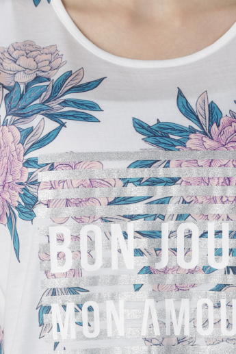 Floral Print T-Shirt with Round Neck in Regular Fit
