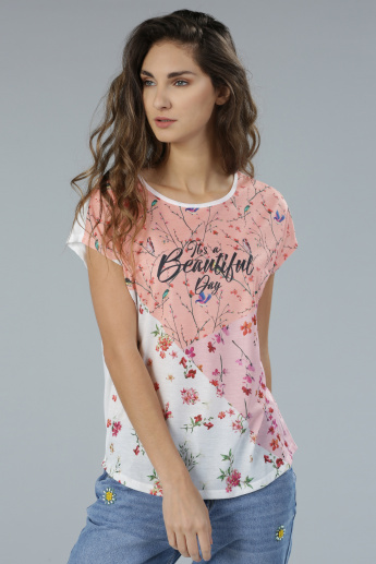 Floral Print Short Sleeves T-Shirt with Round Neck