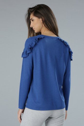 Printed Long Sleeves Top with Frill Applique