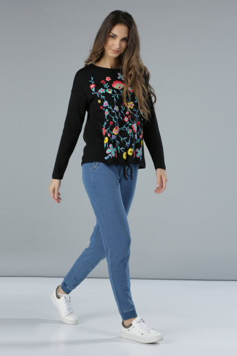 Long Sleeves Sweatshirt with Puff Print