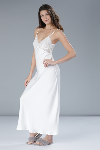 Sleep Gown with Lace Detail and Spaghetti Straps