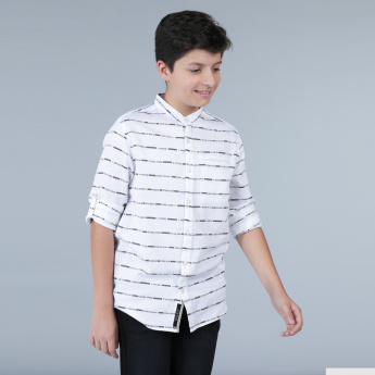 Striped Mandarin Neck Shirt with Long Sleeves and Tabs