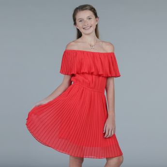 Pleated Off Shoulder Midi Dress