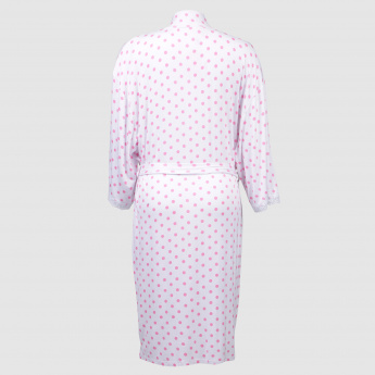 Maternity Polka Dot Printed Robe with Tie Up