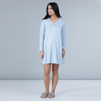 Maternity Printed Sleep Dress with Long Sleeves