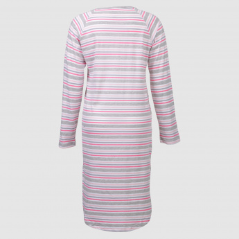 Striped Maternity Night Dress with Long Sleeves