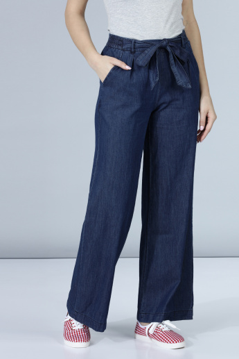 Denim Palazzos in Wide Fit with Waist Tie Ups