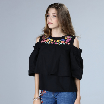 Embroidered Cold Shoulder Top with Round Neck
