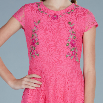 Embroidered Lace Detail Round Neck Dress