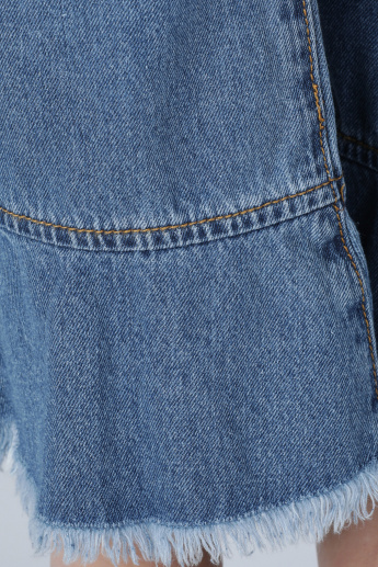 Full Length Jeans with Fringe and Pocket Detail
