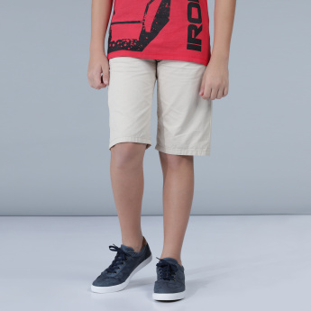 Solid Shorts with Pockets and Belt