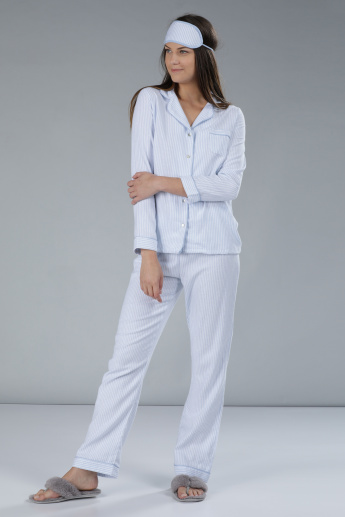 Striped Long Sleeves Pyjama Set with Eye Mask