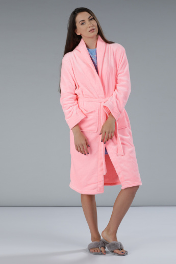 Tie-Up Robe with Long Sleeves