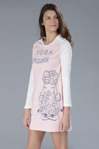 Printed Sleep Dress with Long Sleeves