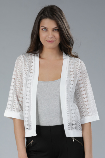 Panelled Lace Shrug with 3/4th Sleeves