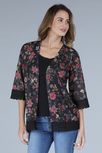 Printed Shrug with 3/4 Sleeves and Lace Detail