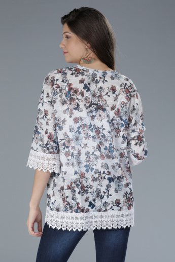 Printed Open Front Shrug with Lace Detailing