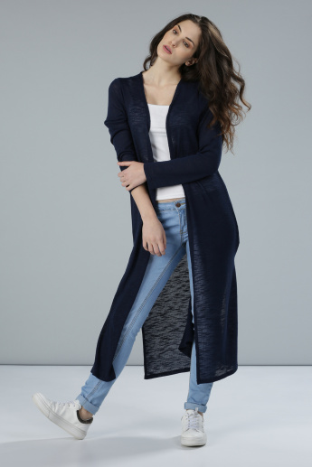 Knit Long Line Shrug with Long Sleeves