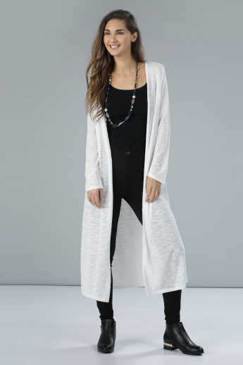 Longline Open Front Shrug with Long Sleeves