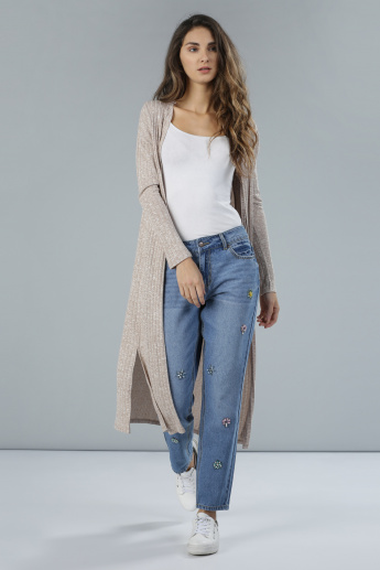 Ribbed Longline Shrug with Open Front and Side Slits