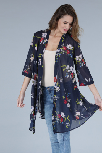Printed Open Front Shrug with 3/4 Sleeves