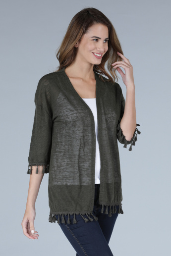 Open Front Shrug with 3/4 Sleeves and Tassels