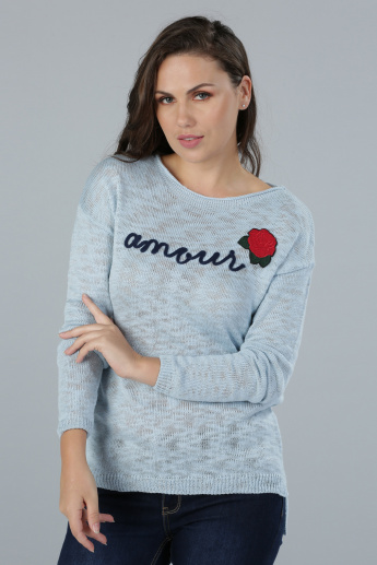 Long Sleeves Sweater with Embroidered Patch Detail