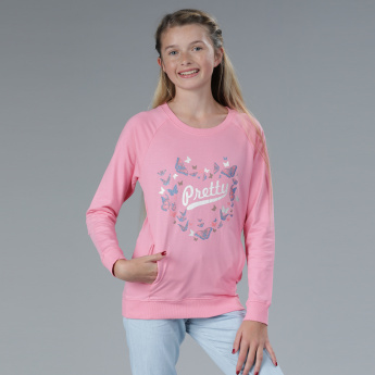 Printed Round Neck Sweat Top