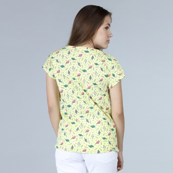 Printed Cap Sleeves T-Shirt