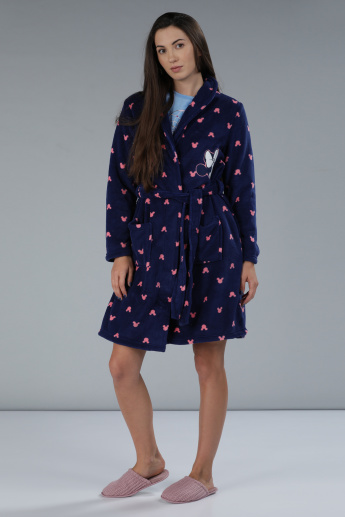Minnie Mouse Print Tie-Up Robe