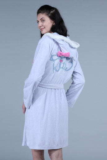 Hello Kitty Embroidered Robe with Long Sleeves and Tie Up Closure