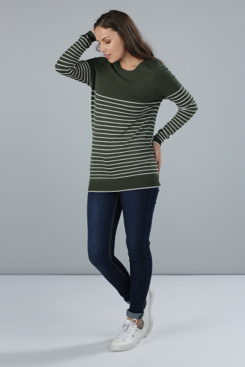 Striped Jumper with Long Sleeves and Button Detail