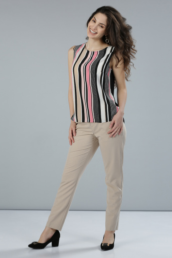 Striped Sleeveless Top with Round Neck