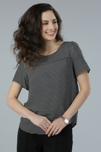 Striped Round Neck Top with Short Sleeves
