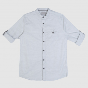 Long Sleeves Shirt with Mandarin Neck