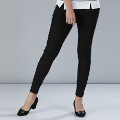 High-Waist Pants with Elasticised Waistband