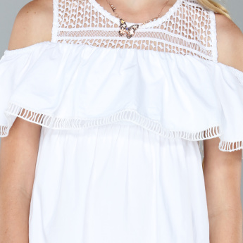 Round Neck Lace Detail Dress