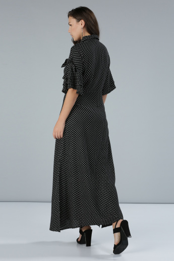 Printed Maxi Shirt Dress with Ruffle Sleeves