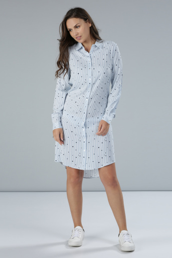 Printed Shirt Dress with Roll Up Sleeves