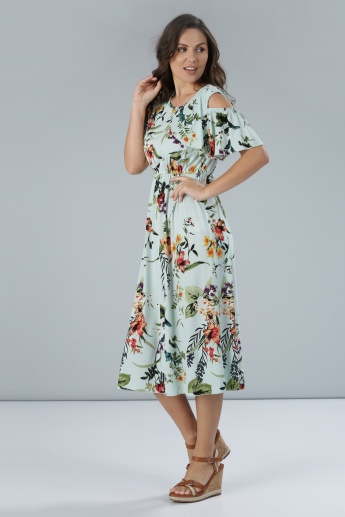 Printed Round Neck Midi Dress with Cold Shoulder