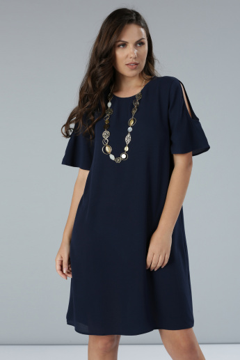 Cold Shoulder Midi Dress with Short Sleeves