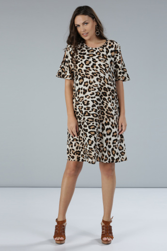 Printed Round Neck Midi Dress with Short Sleeves and Cold Shoulders