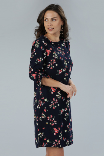 Printed Round Neck Dress with 3/4 Sleeves and Tie Up