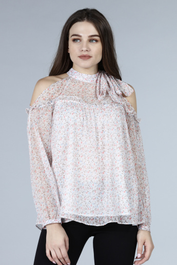 Printed High Neck Long Sleeves Top with Cold Shoulder