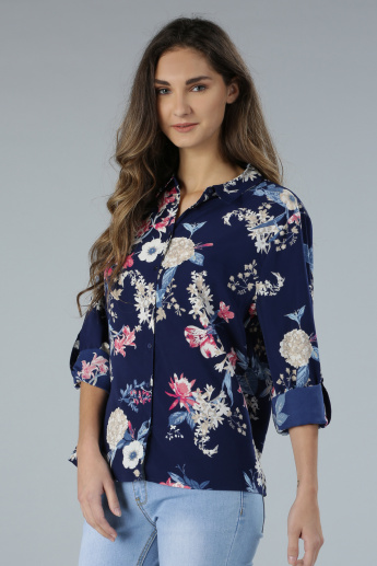 Floral Print Long Sleeves Shirt with Tabs