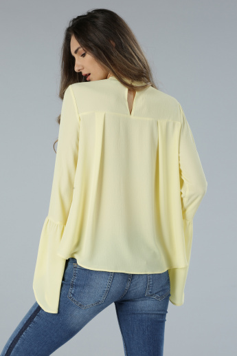 Long Sleeves Choker Neck Top