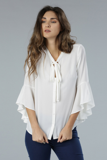 Bell Sleeves Top with Neck Tie Ups